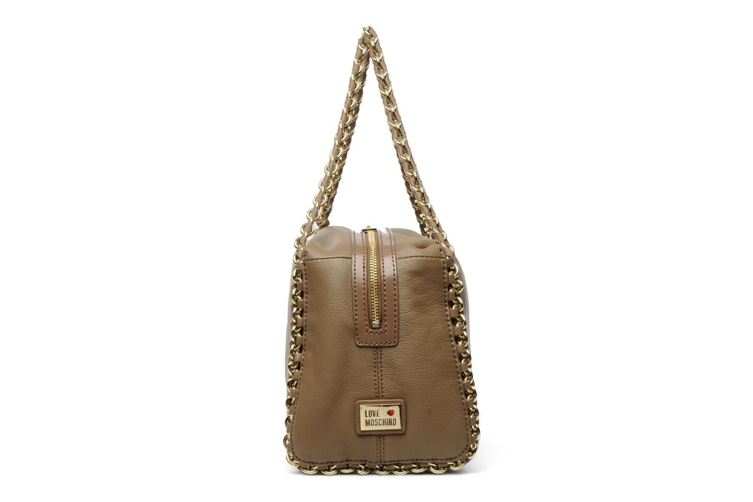 love moschino classic in leather bowling handbags in brown at 105813. Black Bedroom Furniture Sets. Home Design Ideas
