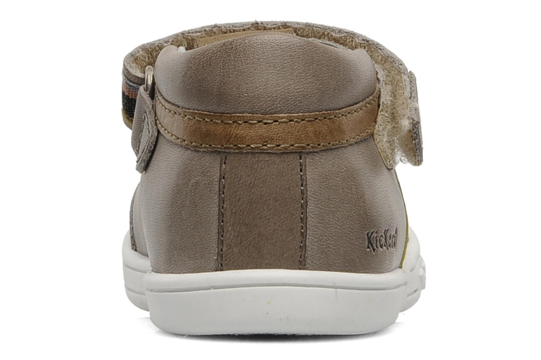 Zapatos con velcro Kickers Teo Gris vista lateral derecha