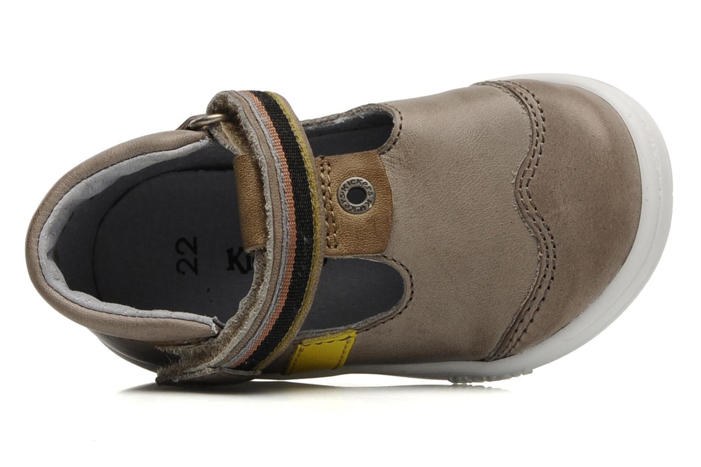 Zapatos con velcro Kickers Teo Gris vista lateral izquierda