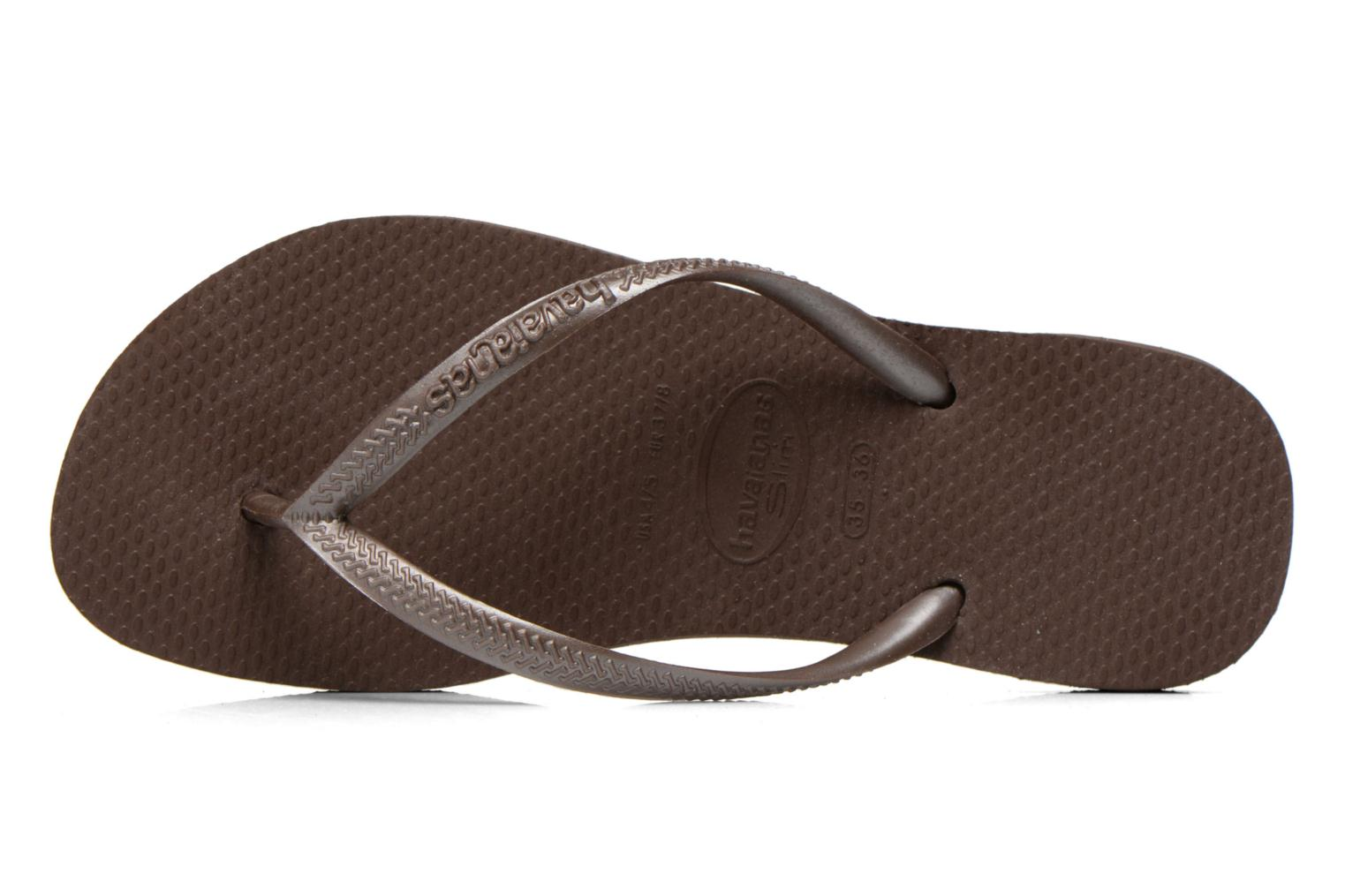 Tongs Havaianas Slim Metallic F Marron vue gauche