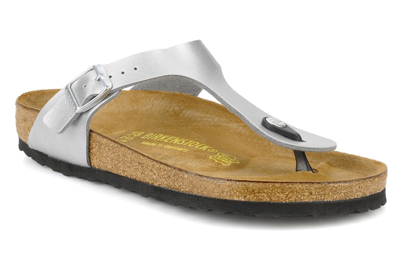 Sandaler Birkenstock Gizeh Flor W Sølv detaljeret billede af skoene