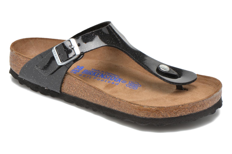 Sandals Birkenstock Gizeh Flor W Black detailed view/ Pair view