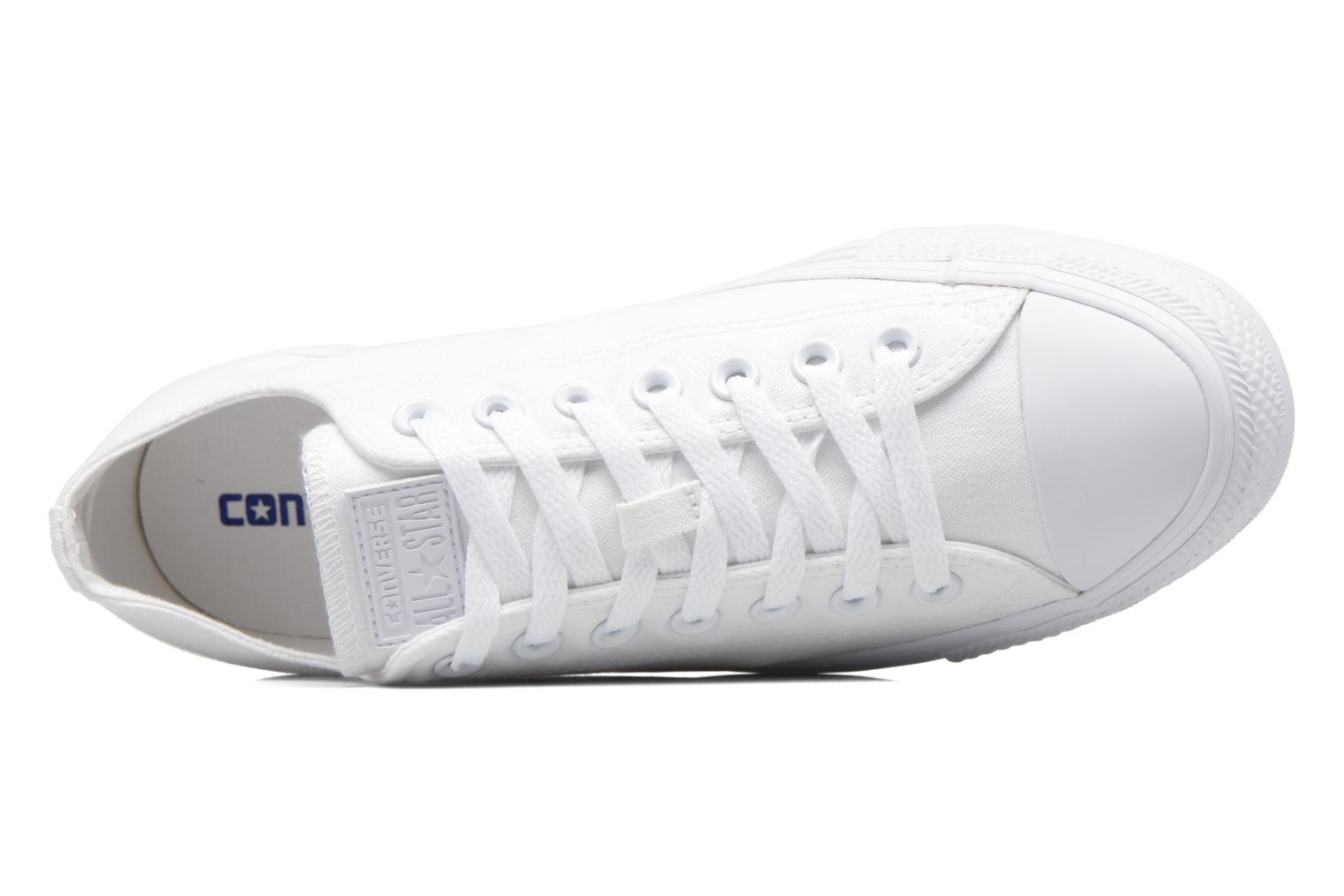 Trainers Converse Chuck Taylor All Star Monochrome Canvas Ox M White view from the left