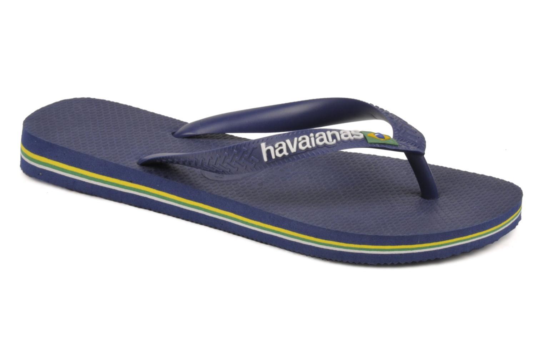 Tongs Havaianas Brazil Logo H Bleu vue détail/paire