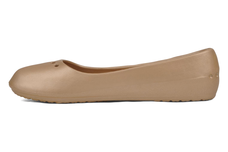Ballet pumps Crocs Prima Bronze and Gold front view