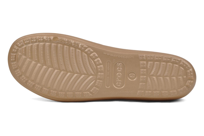 Ballerines Crocs Prima Or et bronze vue haut