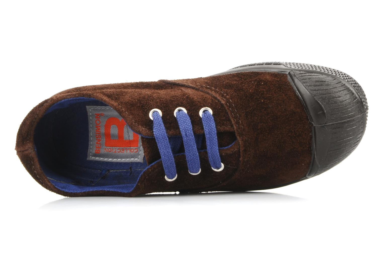 Trainers Bensimon Tennis Suede E Brown view from the left