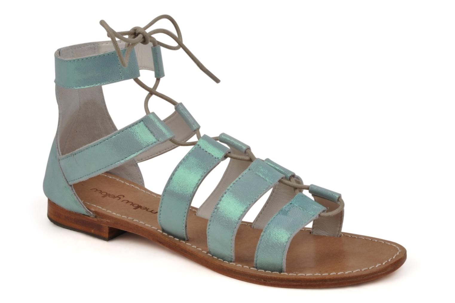 Sandals Mellow Yellow Hirondelle Blue detailed view/ Pair view