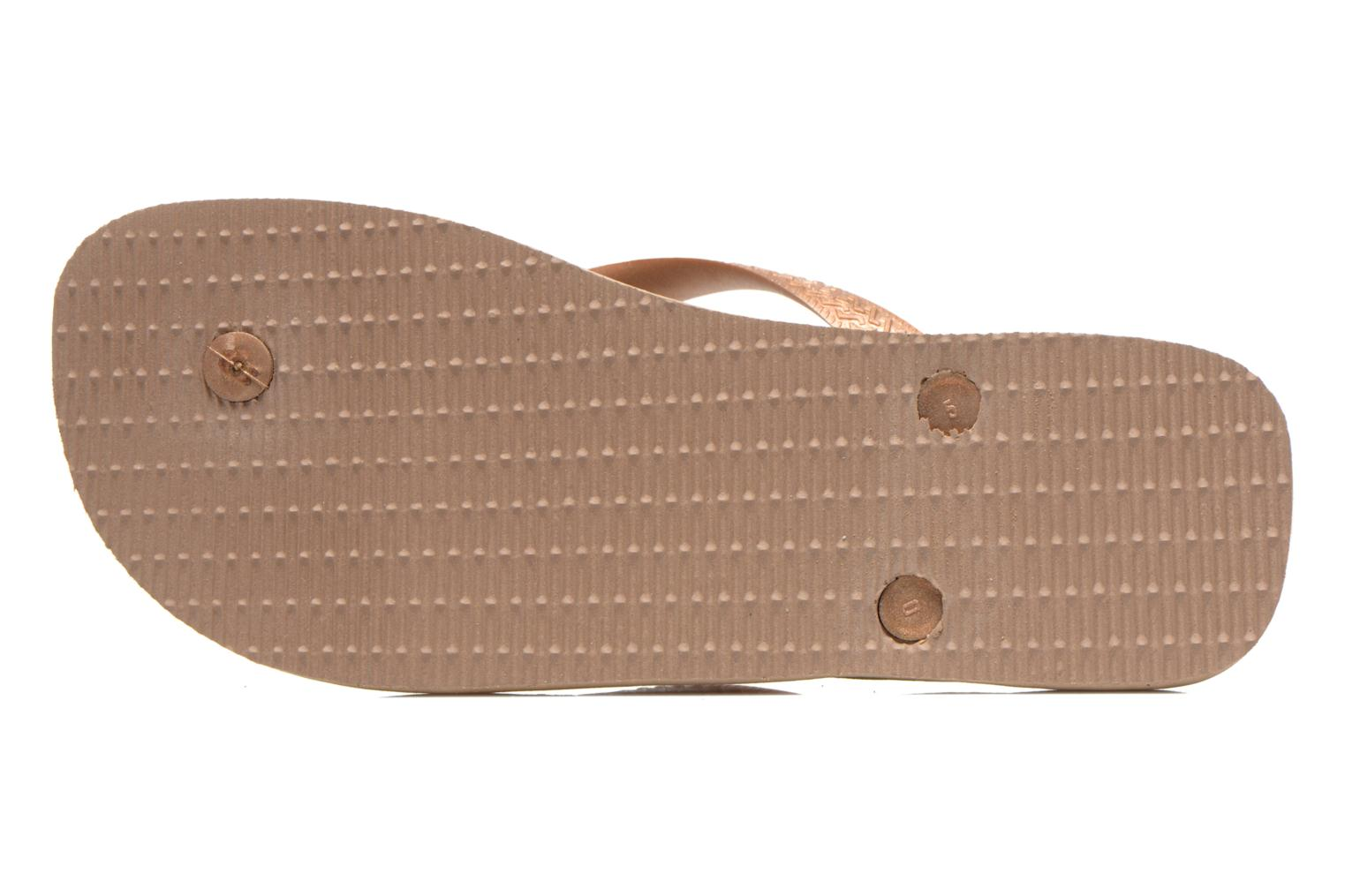 Flip flops Havaianas Top Metallic F Bronze and Gold view from above