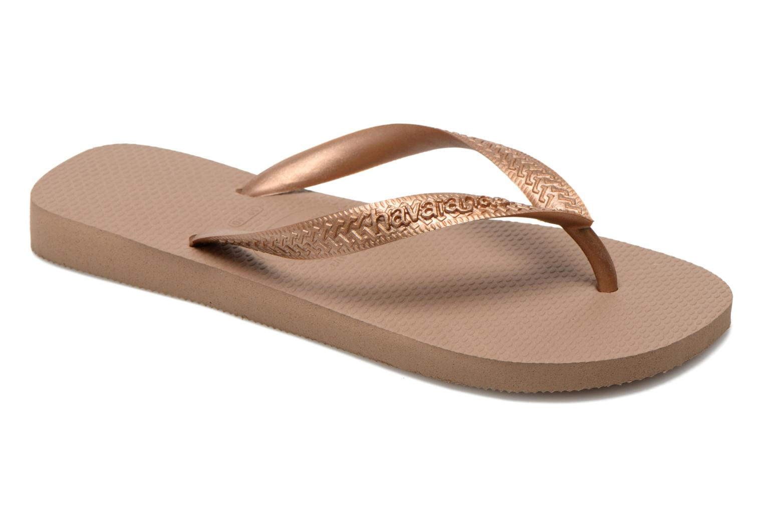 Flip flops Havaianas Top Metallic F Bronze and Gold detailed view/ Pair view