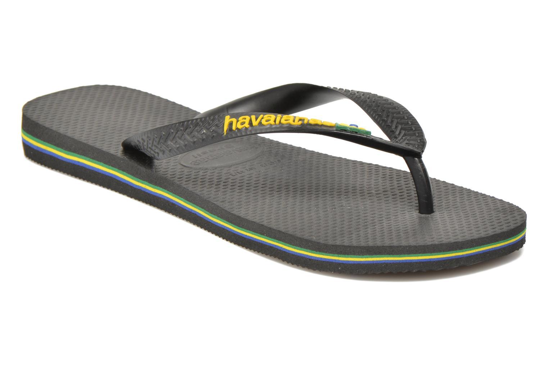 Zehensandalen Havaianas Brasil Logo F schwarz detaillierte ansicht/modell