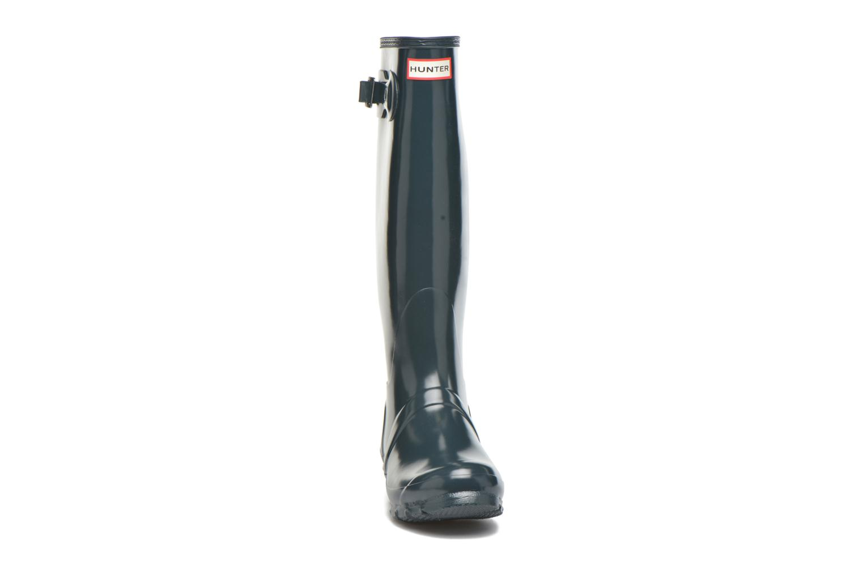 Bottes Hunter Original Tall Gloss Bleu vue portées chaussures