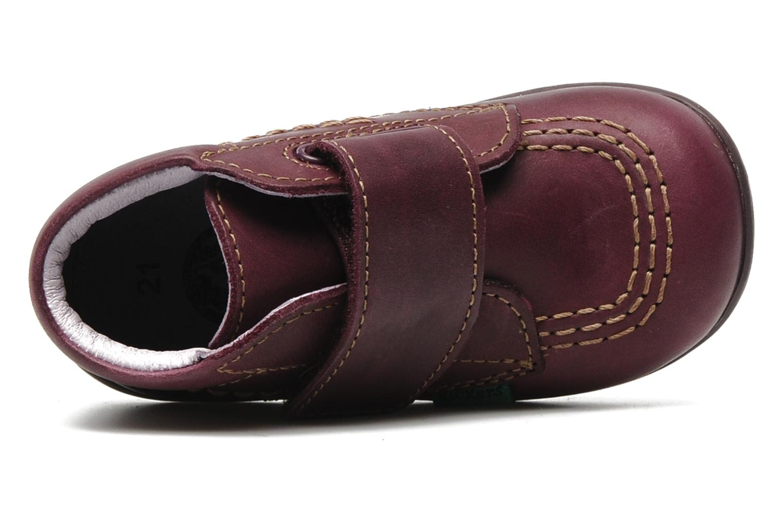 Chaussures à scratch Kickers Bilou Violet vue gauche
