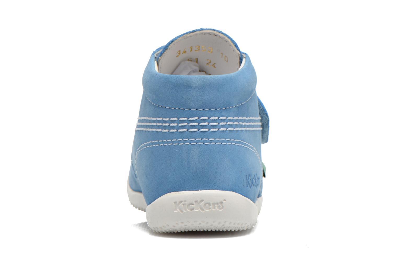 Zapatos con velcro Kickers Bilou Azul vista lateral derecha