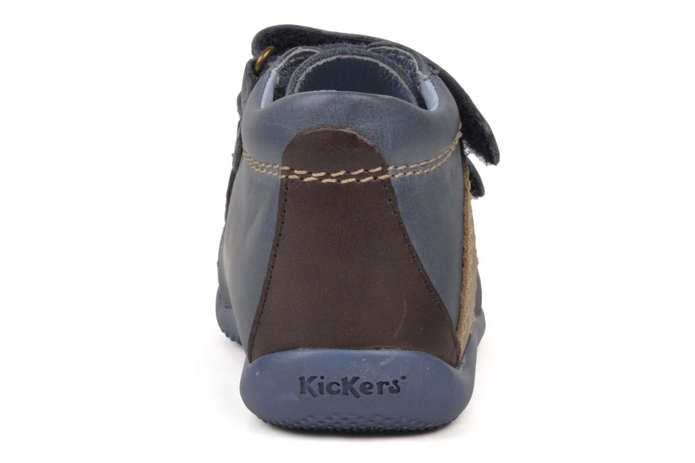 Chaussures à scratch Kickers Bishop Bleu vue droite