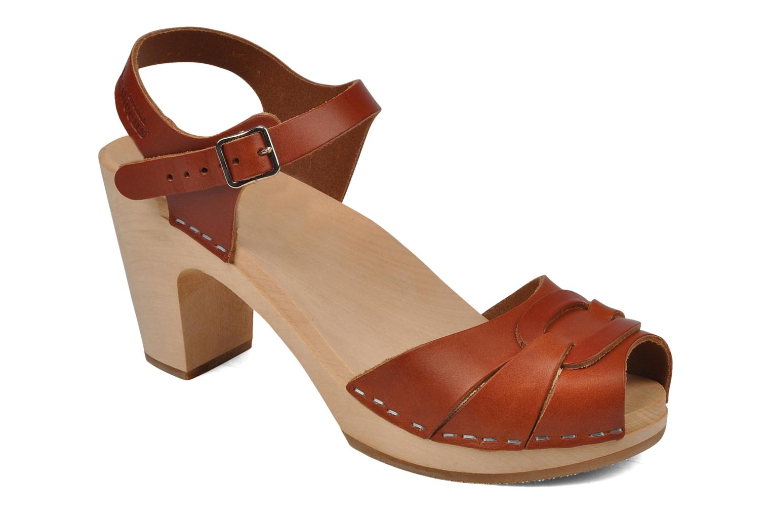 Peep toe super high Cognac