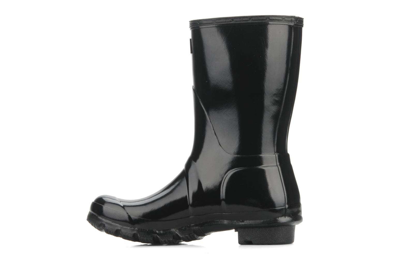 Bottines et boots Hunter Original short gloss Noir vue face