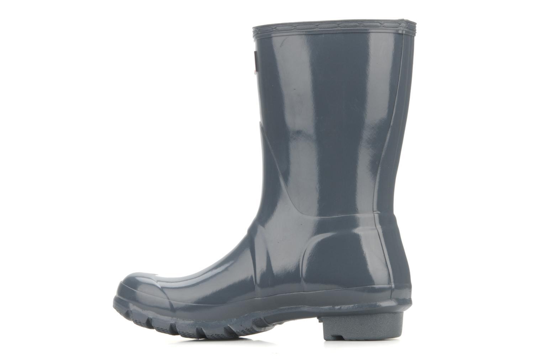 Bottines et boots Hunter Original short gloss Gris vue face