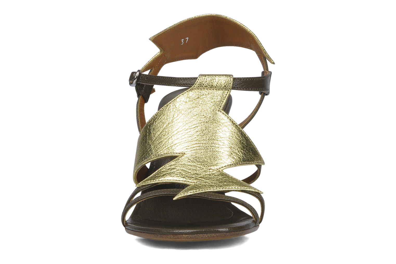 Sandalen Michel Perry Themis gold/bronze schuhe getragen