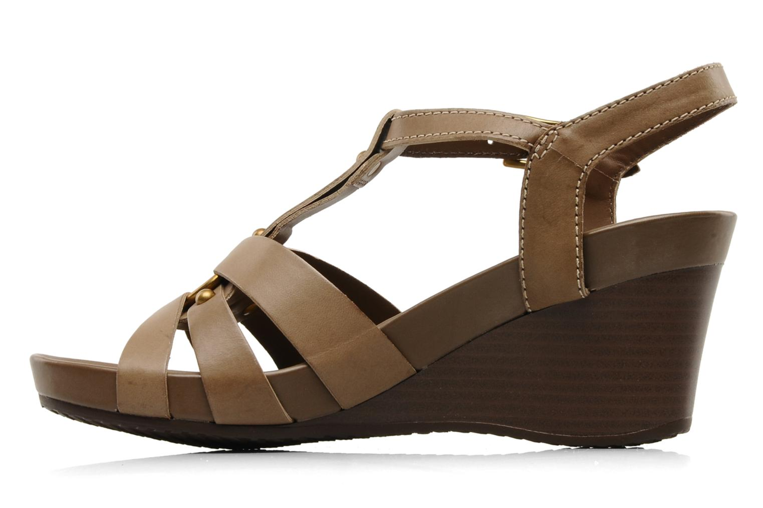 Sandals Geox D roxy z Brown front view