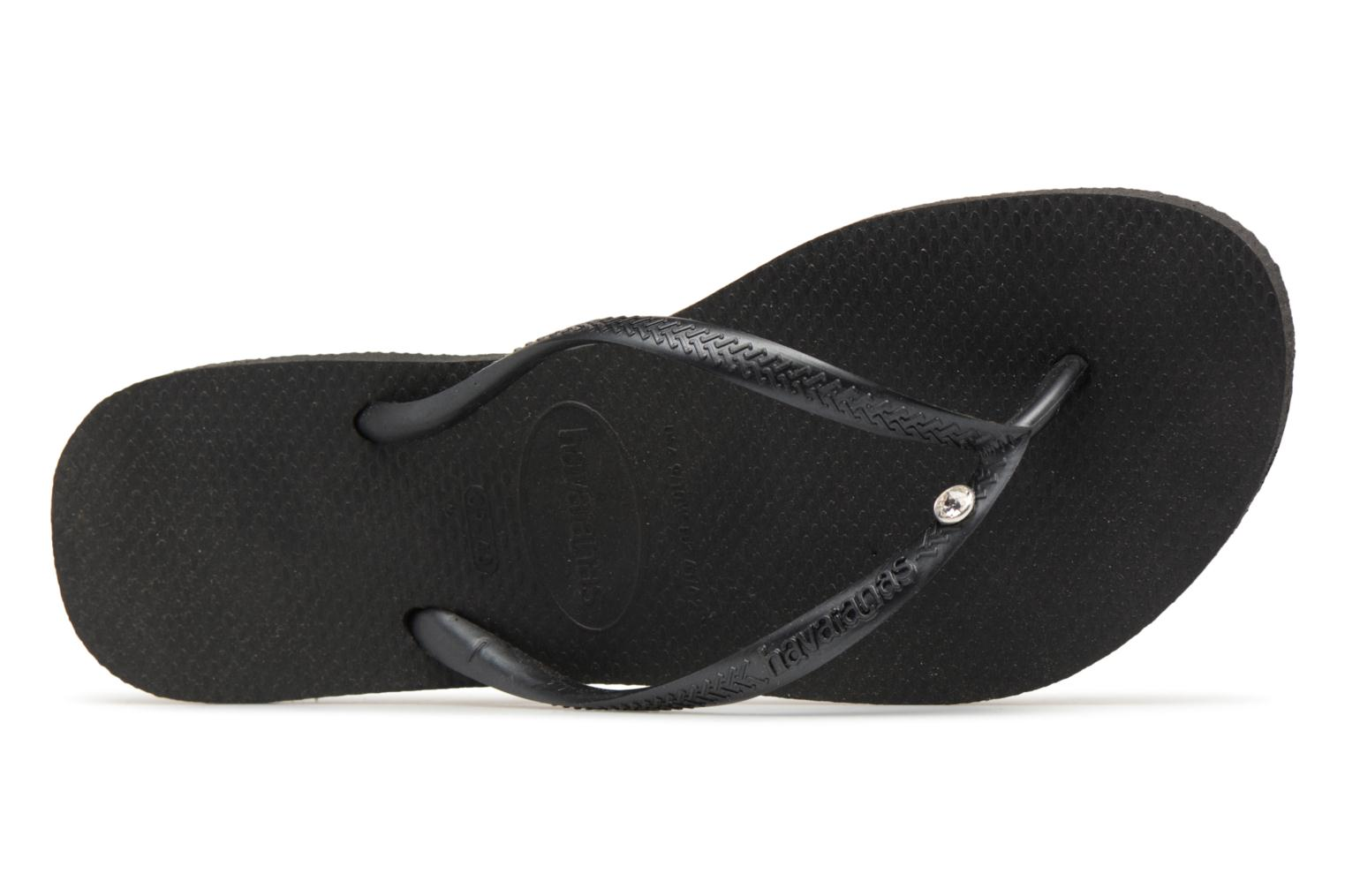 Flip flops Havaianas Slim Crystal Glamour Black view from the left