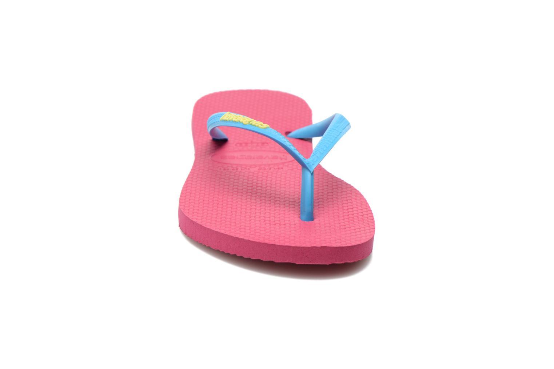 Zehensandalen Havaianas Slim logo femme rosa schuhe getragen