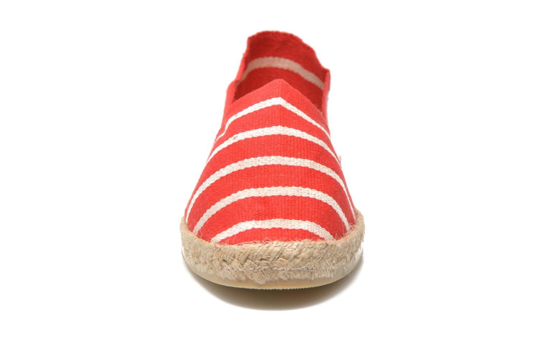Espadrilles La maison de l'espadrille Sabline Rayure F Rouge vue portées chaussures