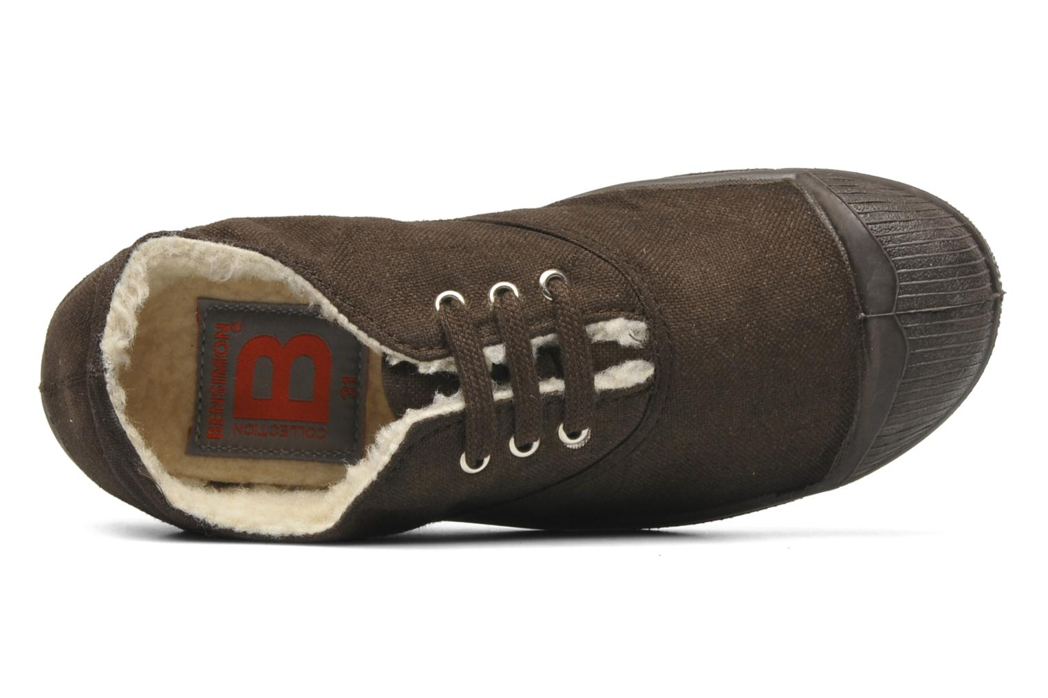 Trainers Bensimon Tennis fourrees e Brown view from the left