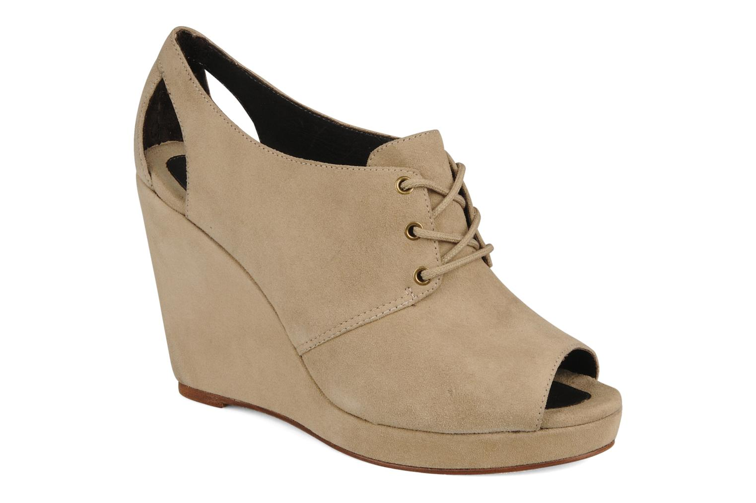 Lace-up shoes Tila March Wedge derby Beige detailed view/ Pair view