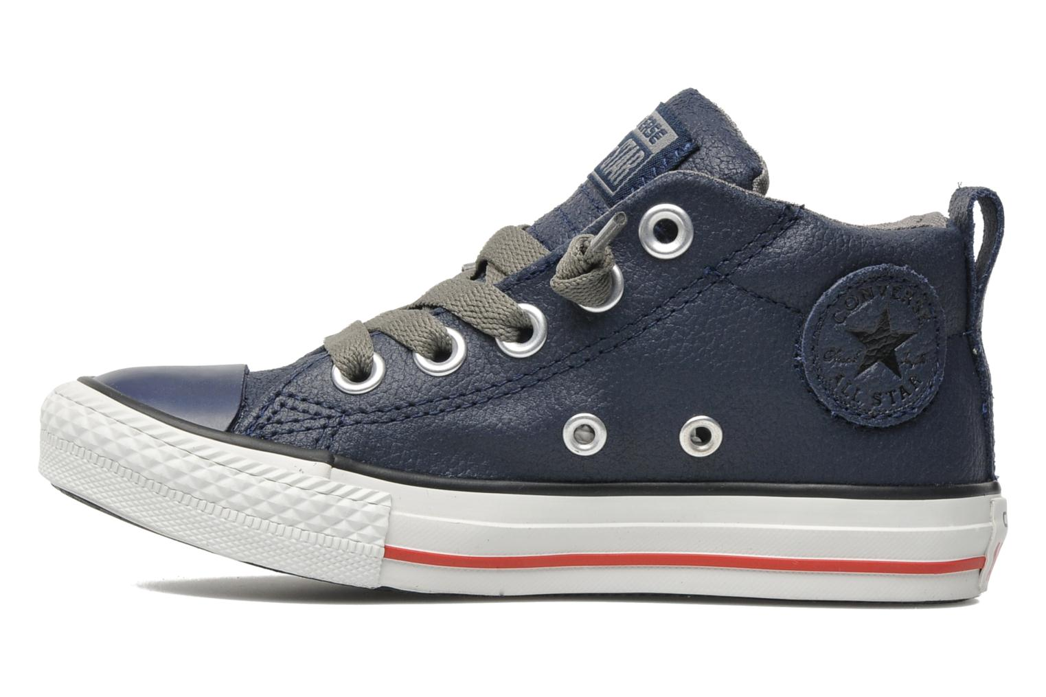 Baskets Converse Chuck taylor all star street leather mid k Bleu vue face