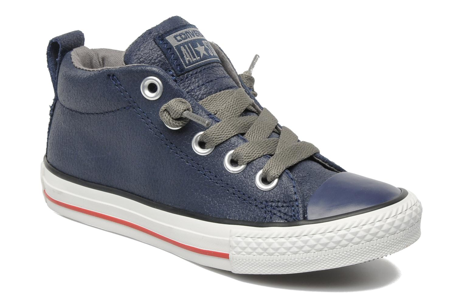 Baskets Converse Chuck taylor all star street leather mid k Bleu vue détail/paire