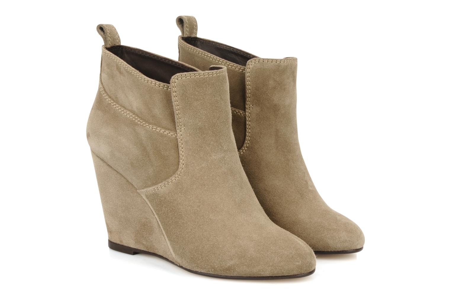 Ankle boots Tila March Wedge booty stitch suede Beige 3/4 view