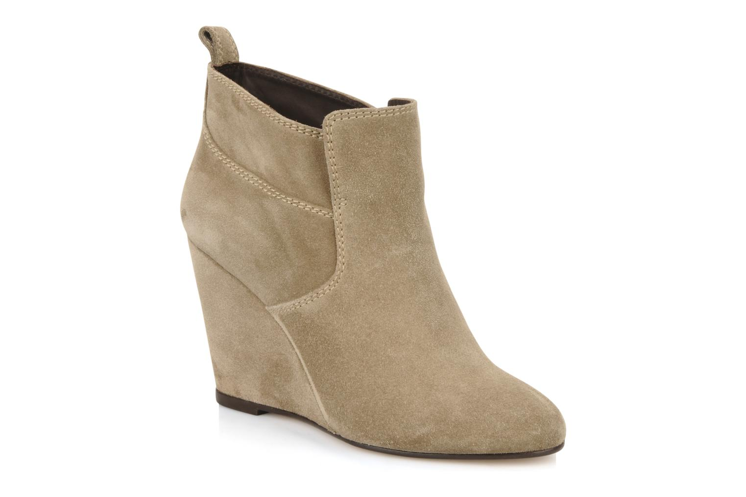 Ankle boots Tila March Wedge booty stitch suede Beige detailed view/ Pair view