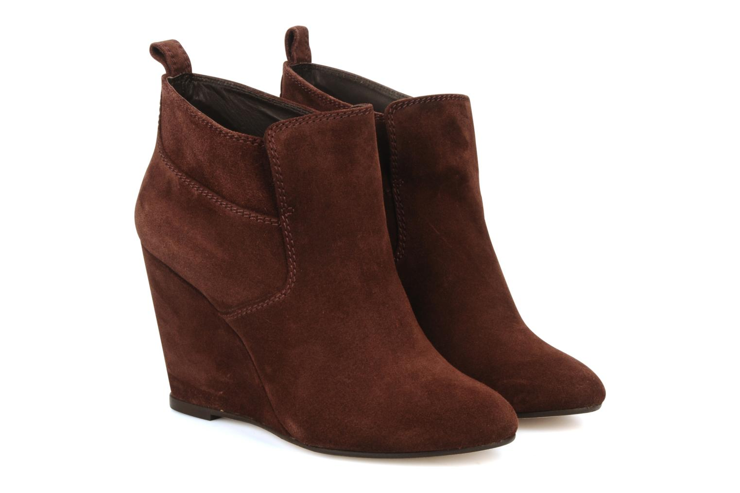 Ankle boots Tila March Wedge booty stitch suede Burgundy 3/4 view