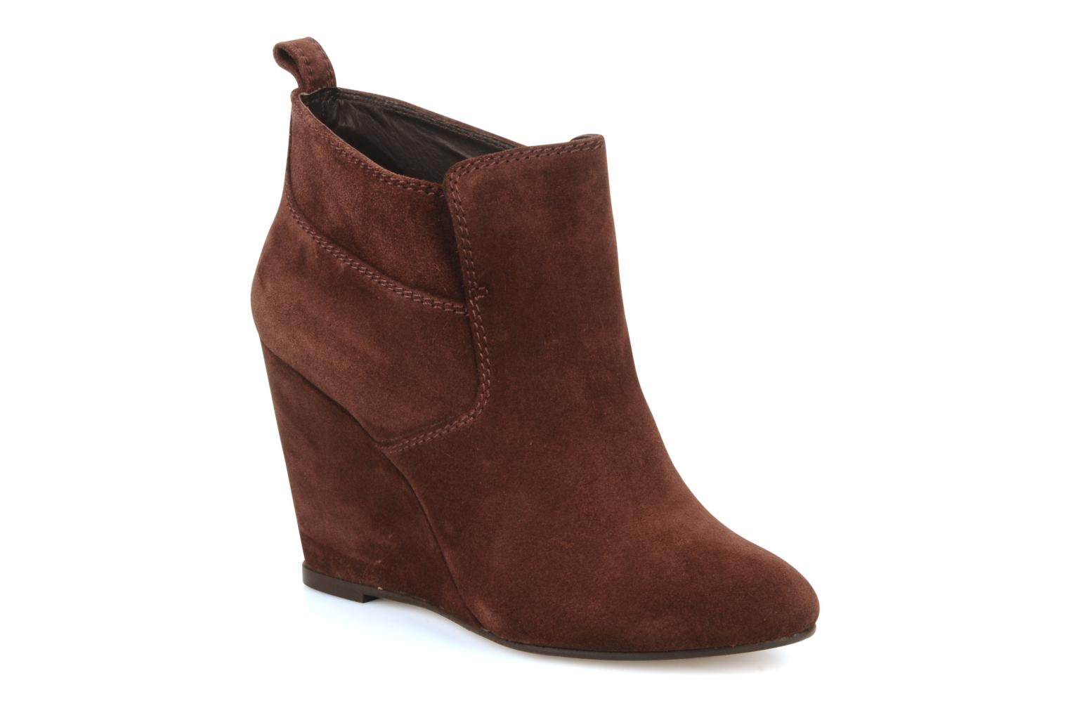 Ankle boots Tila March Wedge booty stitch suede Burgundy detailed view/ Pair view