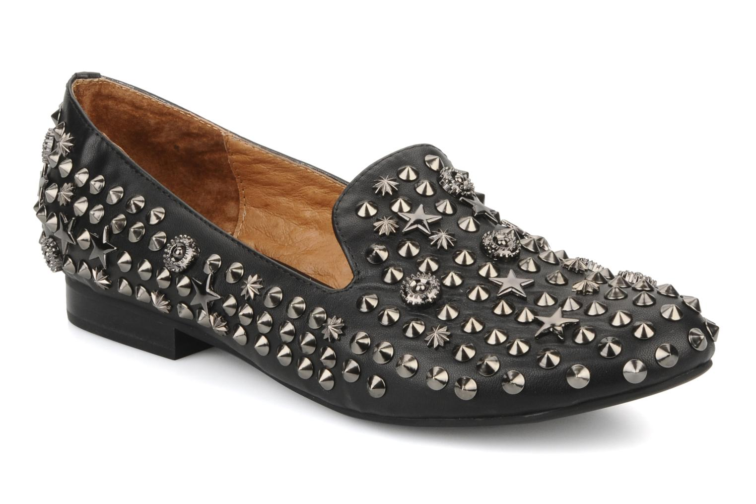 Elegant studs Black leather