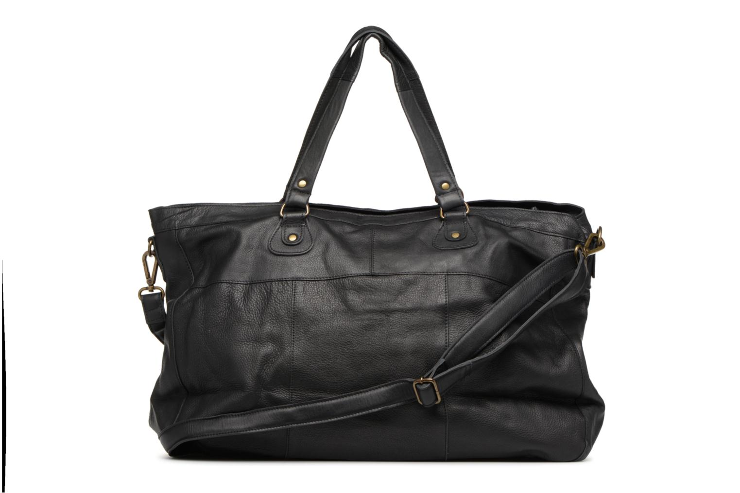 Handbags Pieces Totally Royal leather Travel bag Black front view