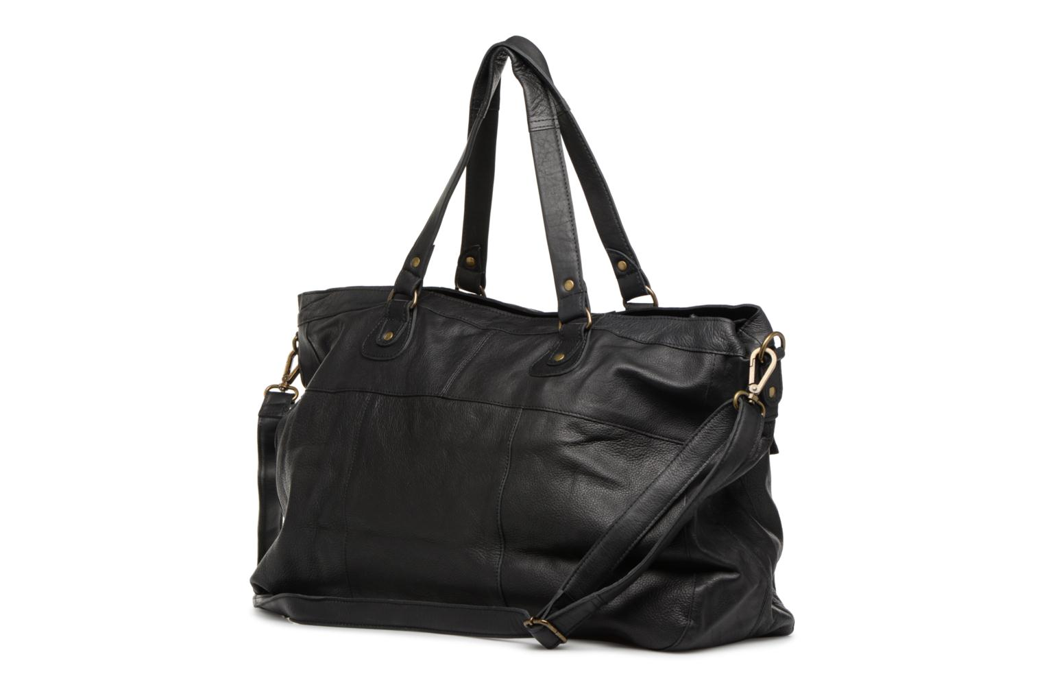 Sacs à main Pieces Totally Royal leather Travel bag Noir vue droite
