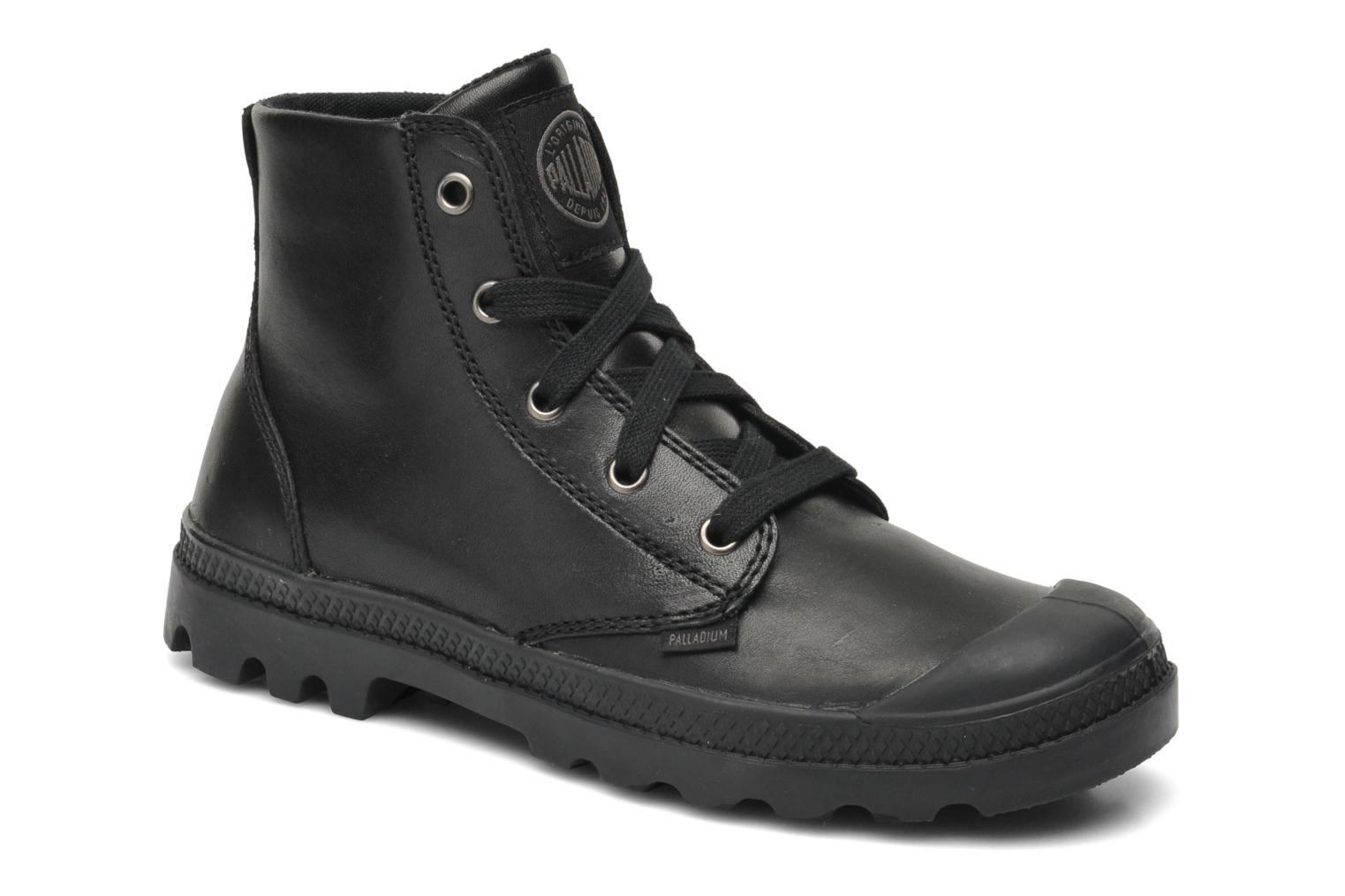 Trainers Palladium Pampa hi leather w Black detailed view/ Pair view