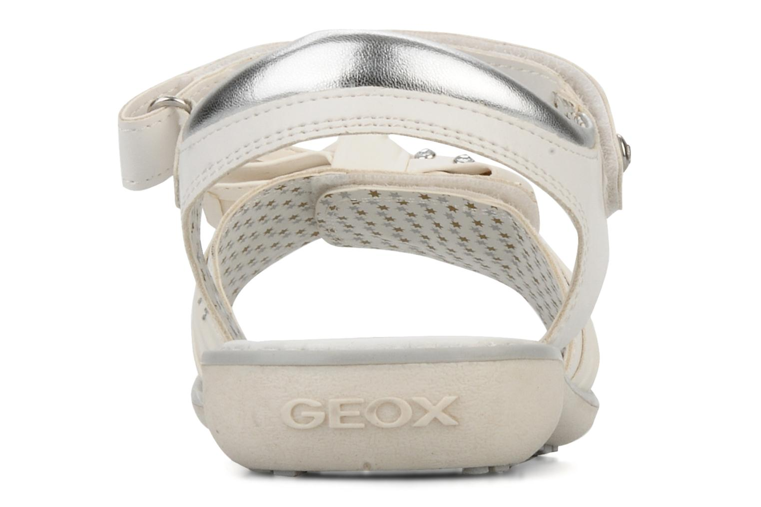 Sandals Geox J s.lime w White view from the right
