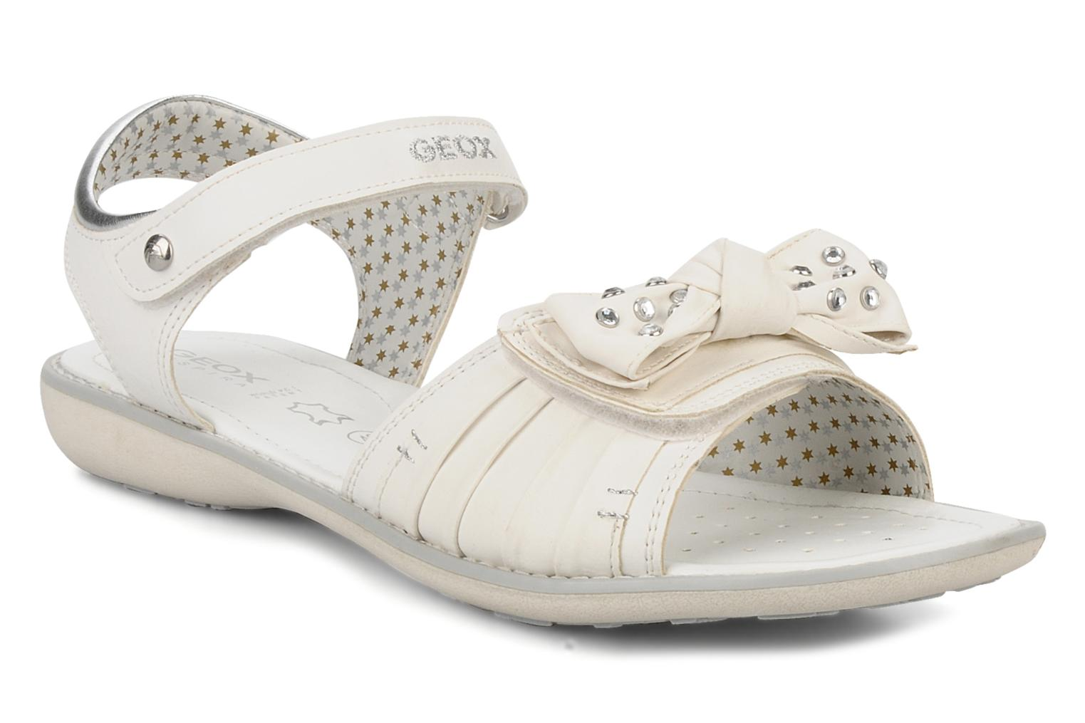 Sandals Geox J s.lime w White detailed view/ Pair view