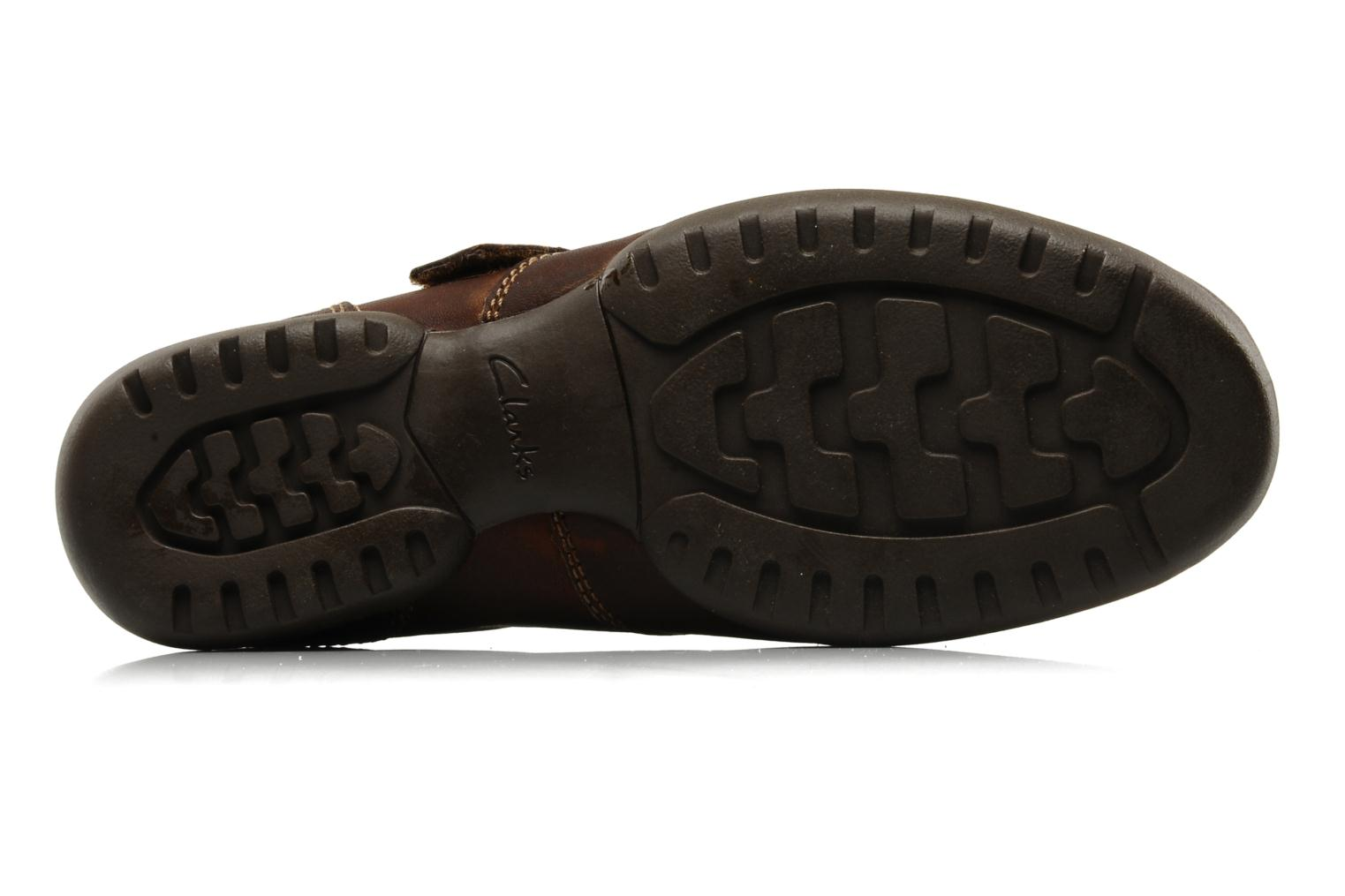 Sandals Clarks Recline Open Brown view from above