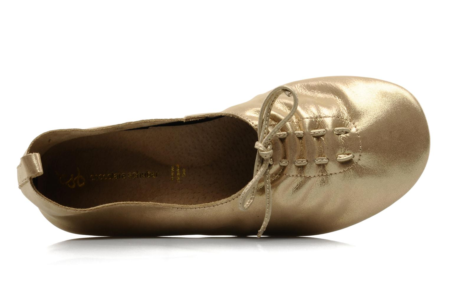 Ballet pumps Chocolate Schubar Daniel Bronze and Gold view from the left