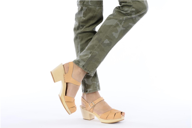 Sandales et nu-pieds Swedish Hasbeens Peep Toe High Colours Beige vue bas / vue portée sac