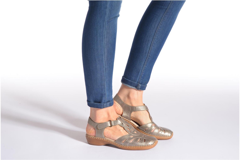 Sandales et nu-pieds Remonte Doris d1603 Or et bronze vue bas / vue portée sac