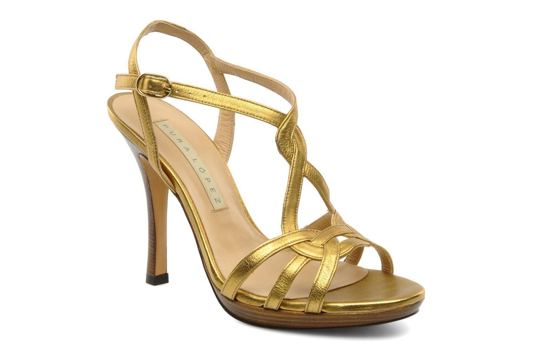 Sandalias Pura Lopez Souna Oro y bronce vista de detalle / par