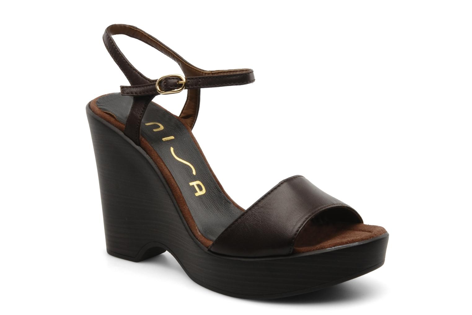 Sandals Unisa Oire Brown detailed view/ Pair view