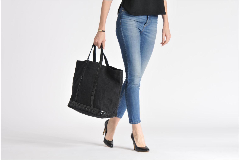 Handtaschen Vanessa Bruno Cabas Lin paillettes XL beige ansicht von oben