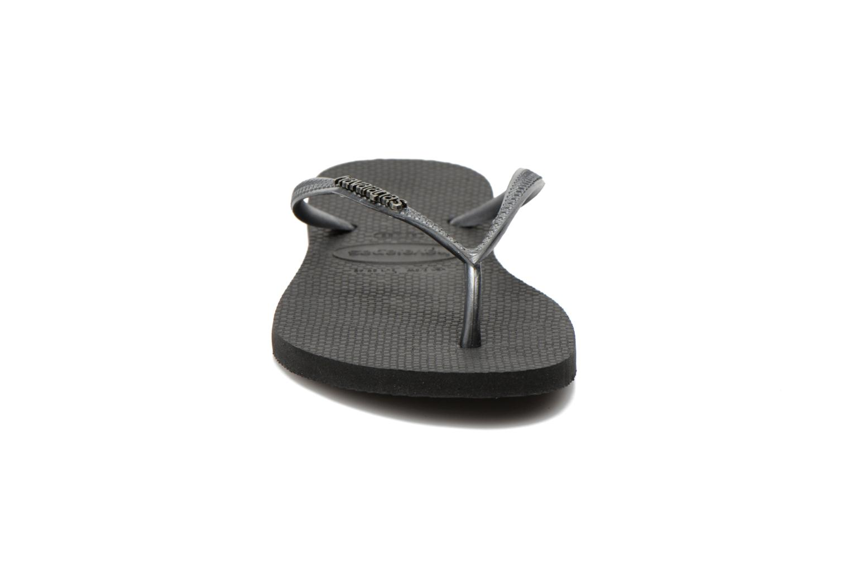 Zehensandalen Havaianas Slim Logo Metallic schwarz schuhe getragen