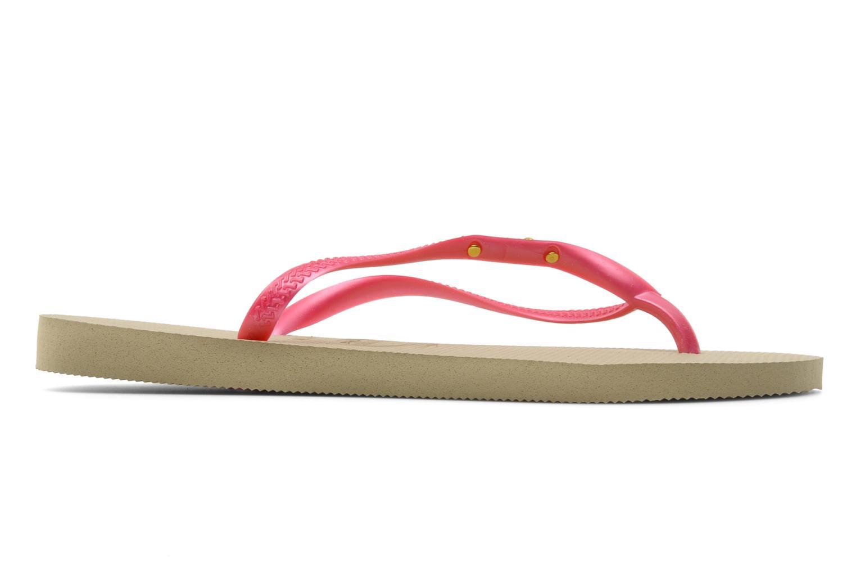 Zehensandalen Havaianas Slim Logo Metallic rosa ansicht von hinten